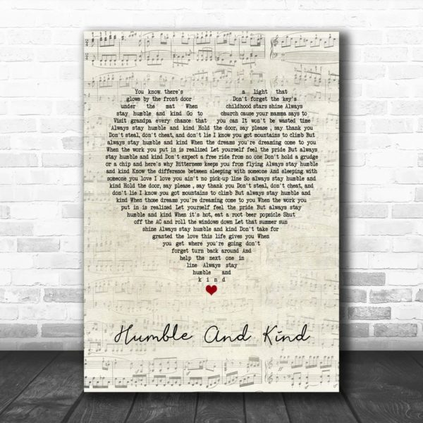 Tim McGraw Humble And Kind Script Heart Song Lyric Poster Canvas