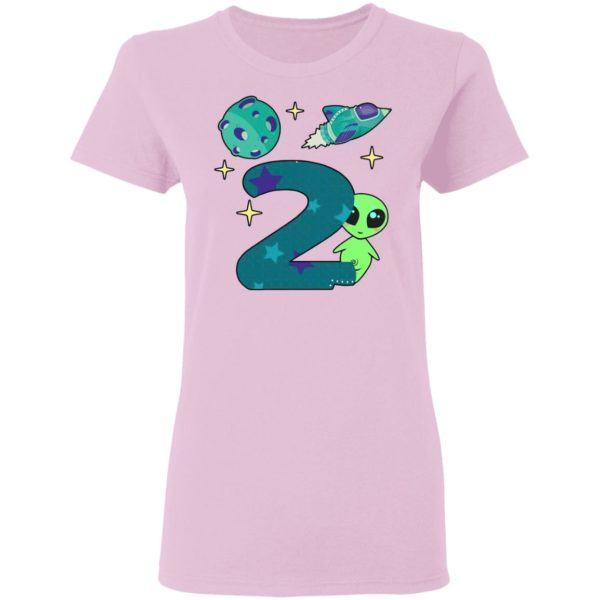 The spaceship planet and Baby Alien Boys 2nd birthday shirt