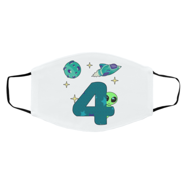 Spaceship Planet And Baby Alien Boys 4th Birthday Face Mask