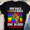 ONE RACE HUMAN RACE ONE BLOOD RED BLOOD HAND GLBT Tee Shirt