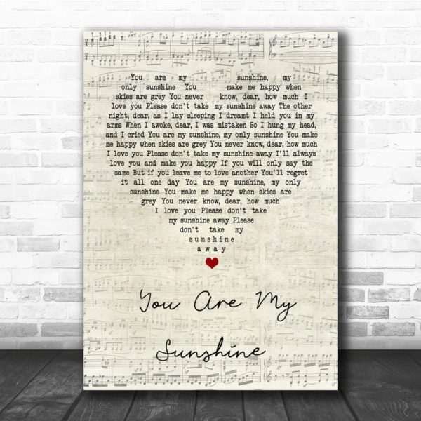 You Are My Sunshine Script Heart Song Quote Poster Canvas