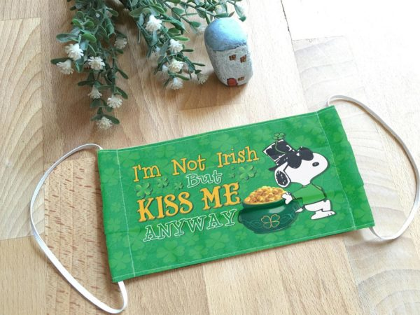 Snoopy St Patrick's Day Face Mask - I'm not Irish But Kiss Me Anyway