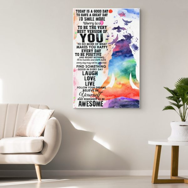 Yoga Girl Meditation Girl Today is a Good Day Motivational Watercolor Art Poster Canvas