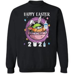 Baby Yoda hand sanitizer happy easter 2021 shirt