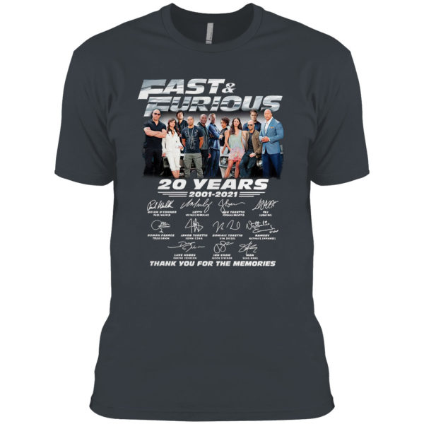 Fast And Furious 20 Years 2001 2021 Thank You For The Memories Signatures Shirt