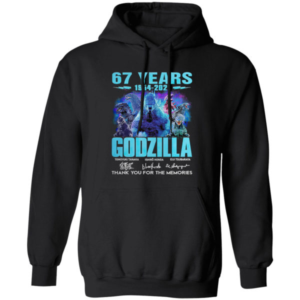 67 years 1954 2021 Godzilla signatures thank you for the memories shirt