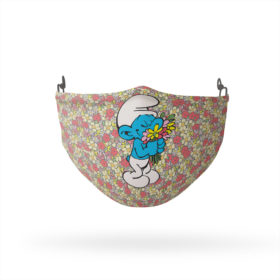 Smurfs Smell the Flowers Reusable Cloth Face Mask