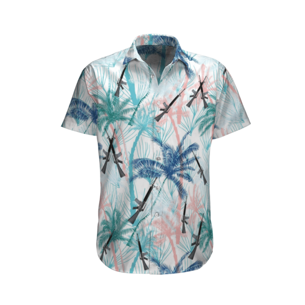 US Army M16 Rifle Hawaiian Beach Shirt, Shorts