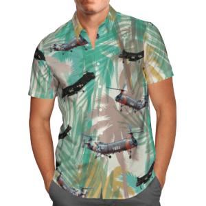 Piasecki H-21 Helicopter Hawaiian Beach Shirt, Shorts