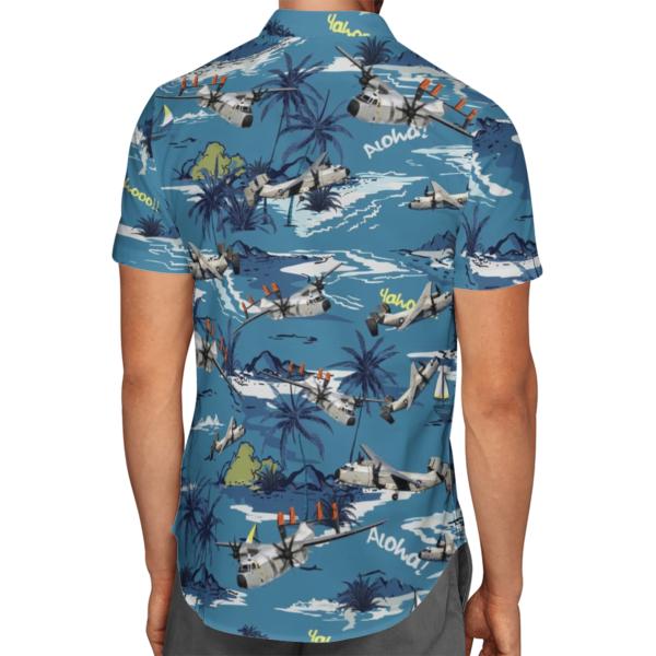United States Navy Grumman C-2 Greyhound Aircraft Hawaiian Beach Shirt, Shorts