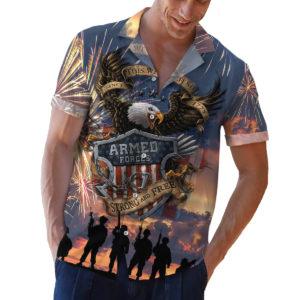 Armed Forces Bald Eagle This We'll Defend US Flag Hawaiian Shirt