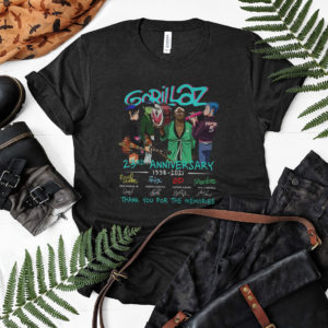 Gorillaz 23Rd Anniversary 1998-2021 Signatures Thank You For The Memories Shirt