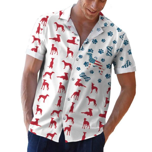 Whippet American Flag 4th of July Hawaiian shirt