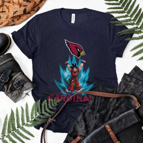 Son Goku Powering Up In Energy Arizona Cardinals Shirt