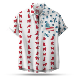 Shih Tzu American Flag 4th of July Hawaiian shirt