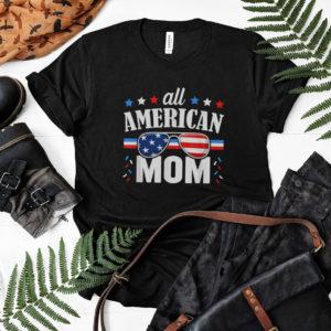 American Women USA Flag Messy Bun Skull Mom 4th Of July Shirt