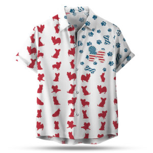 Bichon Frise American Flag 4th of July Hawaiian shirt