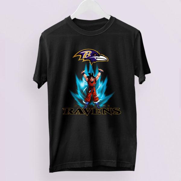 Son Goku Powering Up In Energy Baltimore Ravens Shirt