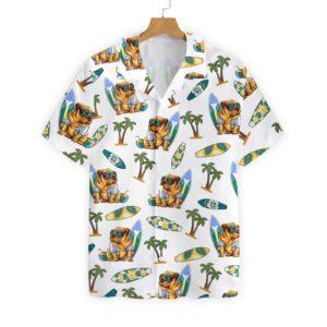 Bulldog Surf And Palm Hawaiian Floral Print Shirts