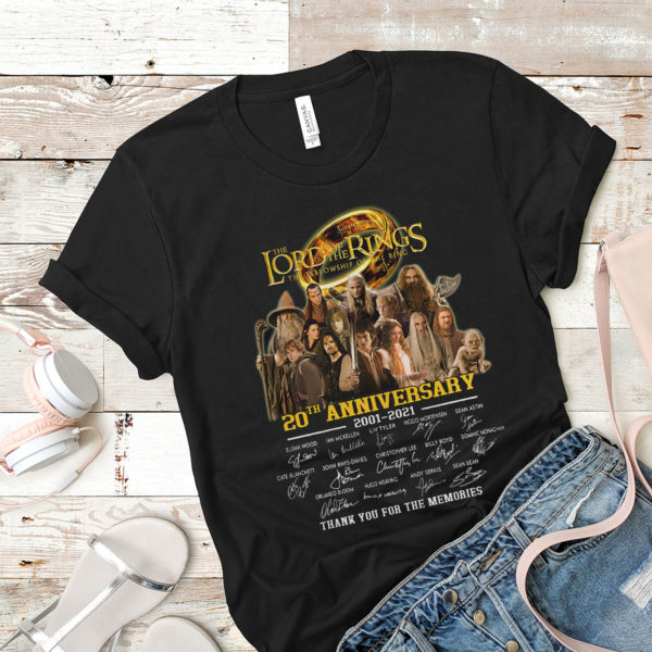 Lord Of The Ring 20th Anniversary 2001-2021 All Casts Signatures T-Shirt