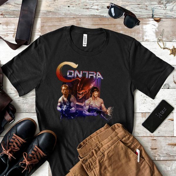 Contra Movie Game Arnold Schwarzenegger Vs Sylvester Stallone T-shirt