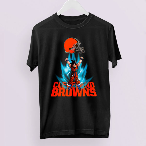 Son Goku Powering Up In Energy Cleveland Browns Shirt