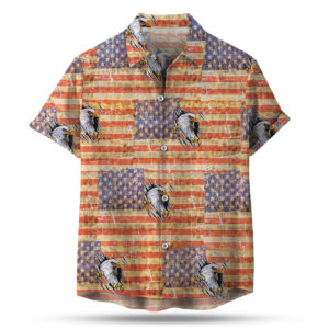 Eagle Ripping American Flag 4th of July Button Up Shirt