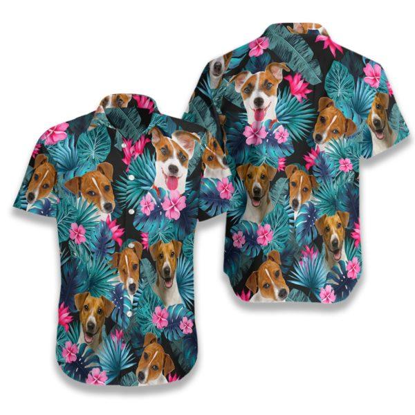 Tropical Jack Russell Terrier Mens Hawaiian Print Shirts