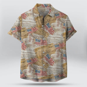Timeless Treasures We The People Declaration Of Independence 4th of July Button Up Shirt