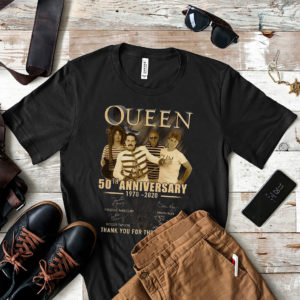 Queen 50th T-Shirt Anniversary 1970 2020 Thank You For Memories Member Signatures