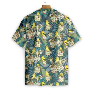 Goldfinches and Apple Blossoms Hawaiian Floral Print Shirts