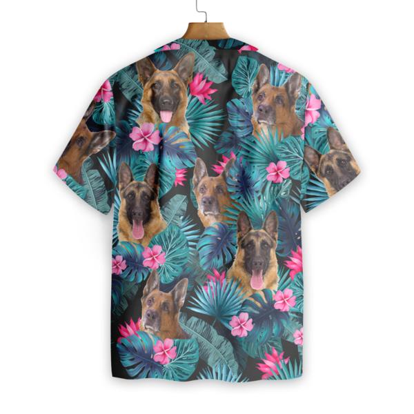 Tropical German Shepherd Hawaiian Button Up Shirts