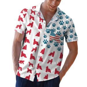 Afghan Hound American Flag Hawaiian shirt