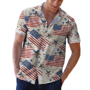 Timeless Treasures Patriot Rustic American Flags 4th of July Hawaiian Shirt