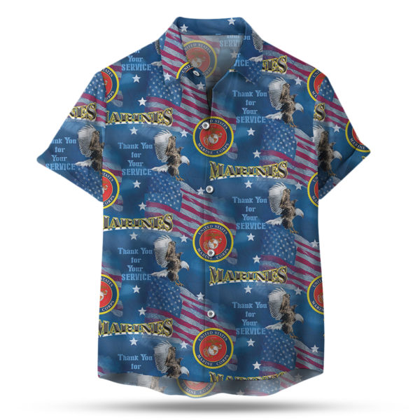 Thank You for your Service Military Flags Marines 4th of July Hawaiian Shirt