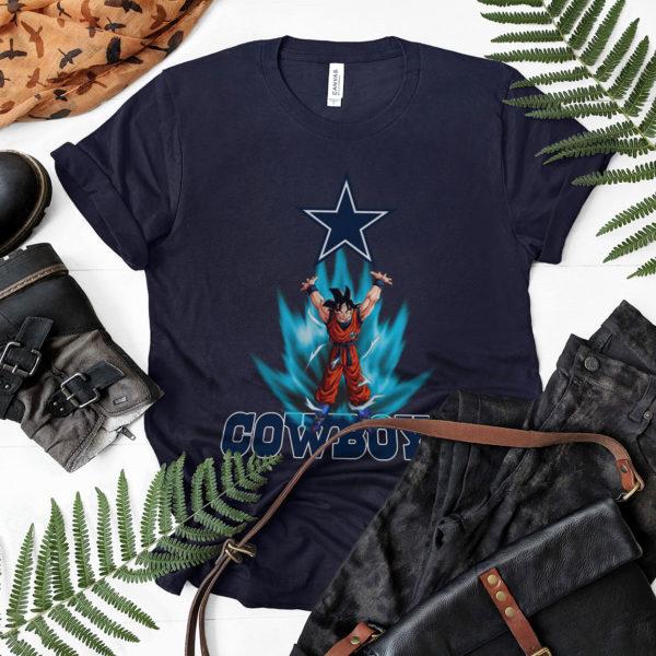 Son Goku Powering Up In Energy Dallas Cowboys Shirt