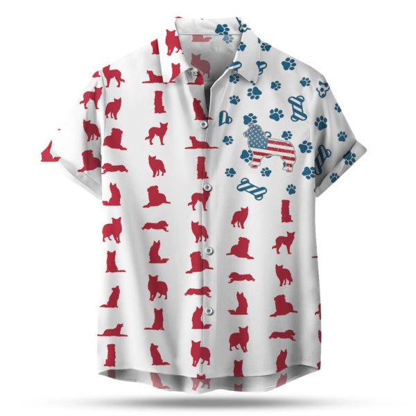 Border Collie American Flag 4th of July Hawaiian shirt
