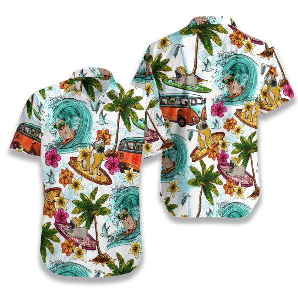 Beach pugs Hawaiian Floral Print Shirts
