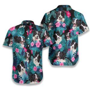Tropical Border Collie Mens Hawaiian Print Shirts