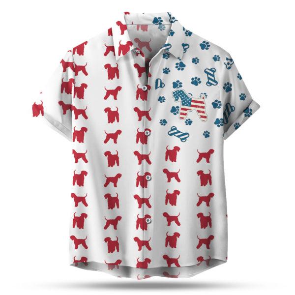Soft Coated Wheaten Terrier American Flag 4th of July Hawaiian shirt