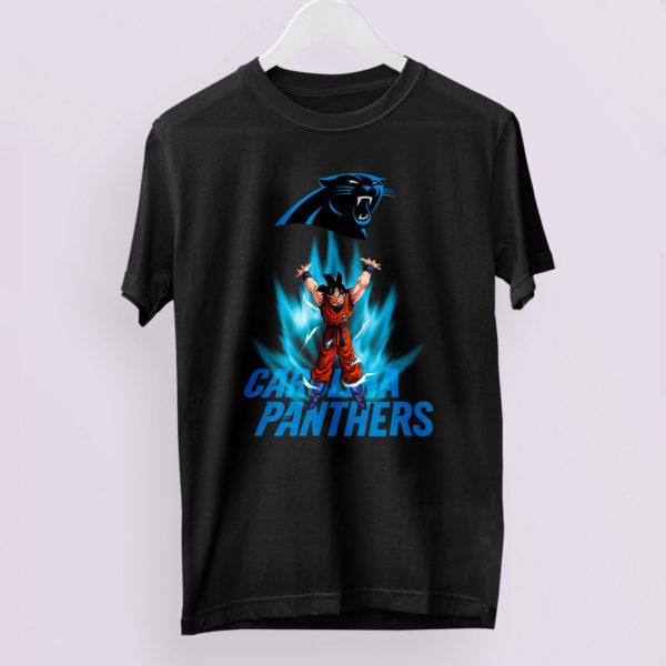 Son Goku Powering Up In Energy Carolina Panthers Shirt