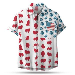 Pomeranian Dog American Flag 4th of July Hawaiian shirt