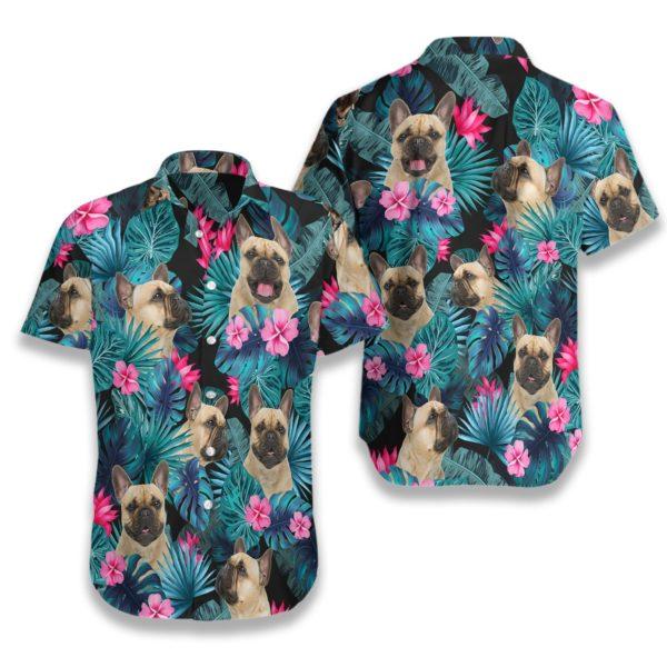 Tropical French Bulldog Hawaiian Button Up Shirts