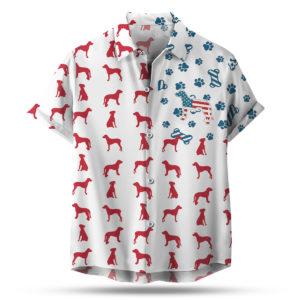 Rhodesian Ridgeback American Flag 4th of July Hawaiian shirt