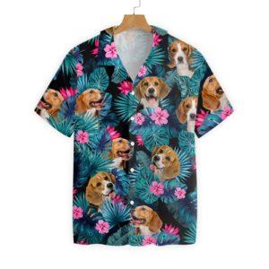 Tropical Beagle Hawaiian Floral Print Shirts