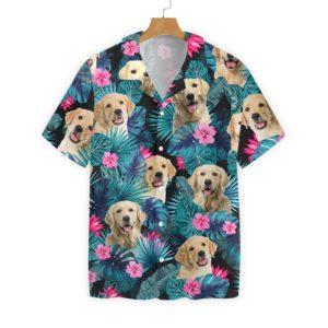 Tropical Golden Dog Hawaiian Floral Print Shirts