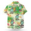 Puffin wearing a hawaiian shirt button up shirt