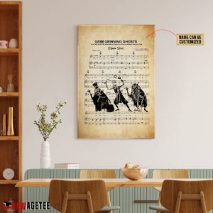 Haunted Mansion Hitchhiking Ghosts over Grim Grinning Ghosts Sheet Music Poster Canvas