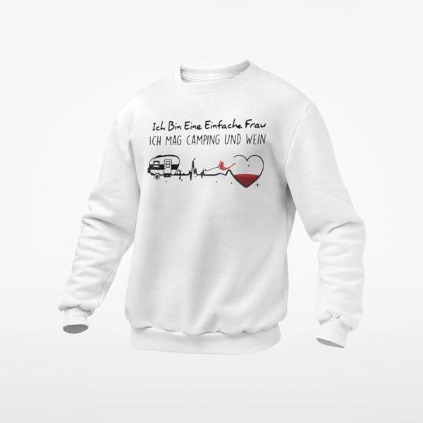 Ich Bin Eine Einfache Frau Ich Mag Camping Und Wein Shirt, ls, hoodie