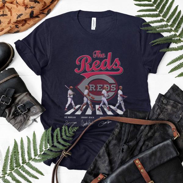 The Reds Abbey Road Signatures Shirt, Joe Morgan, Johnny Bench, Pete Rose, Barry Larkin